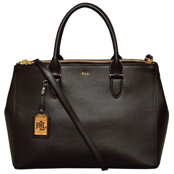Ralph Lauren Winford Black Double Zip Satchel Handbag