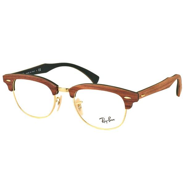 Shop Ray Ban Rx 5154m 5561 Clubmaster Walnut Wood 51mm