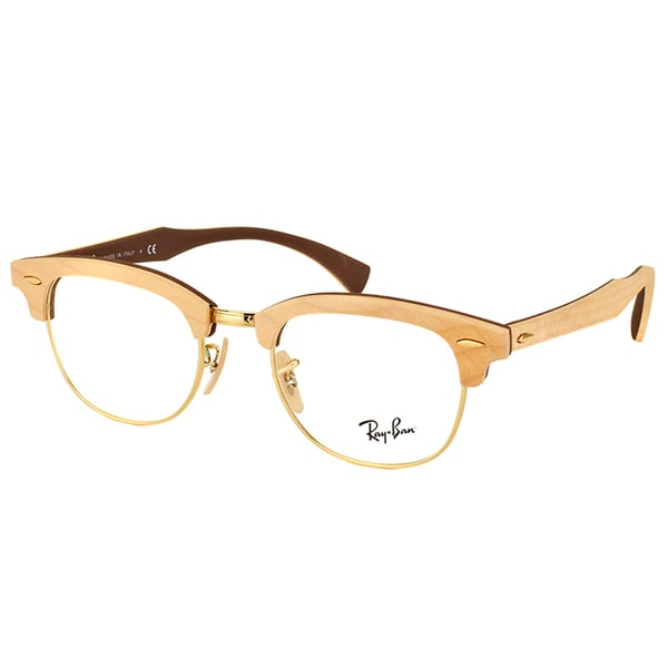 Shop Ray-Ban RX 5154M 5558 Clubmaster Maple Wood 51mm Eyeglasses ...