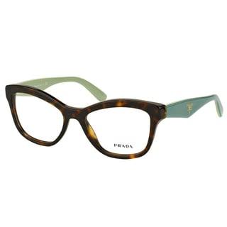Prada PR 29RV 2AU1O1 Havana On Green Plastic Cat-Eye 54mm Eyeglasses
