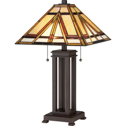 Quoizel Gibbons Tiffany-style Desk Lamp