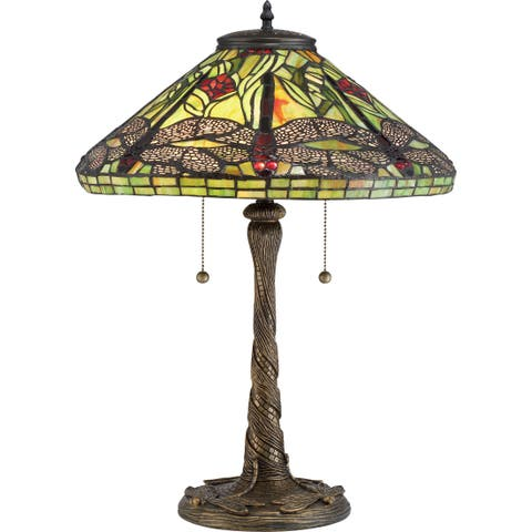 Quoizel Jungle Dragonfly Tiffany-style Table Lamp