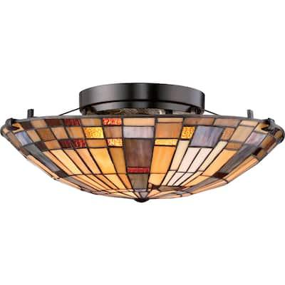 Quoizel Inglenook Tiffany-style Medium Floating Flush-mount Light Fixture