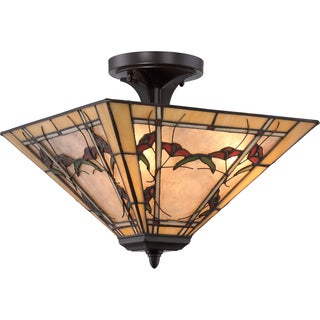 Quoizel Monteclaire Tiffany-style Medium Semi-flush Mount