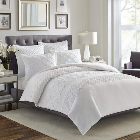 Stone Cottage Mosaic 3-piece White Textured Cotton Comforter Set