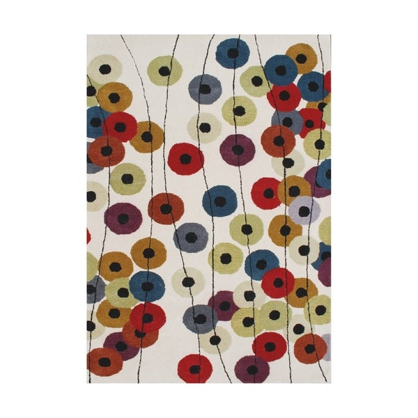 The Whimsical Colorful Alliyah Dotted Circles Yellow Wool Lively Motif Floor Rug (9' x 12') - 9' x 12'