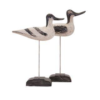 Wood Carved Birds - Set of 2