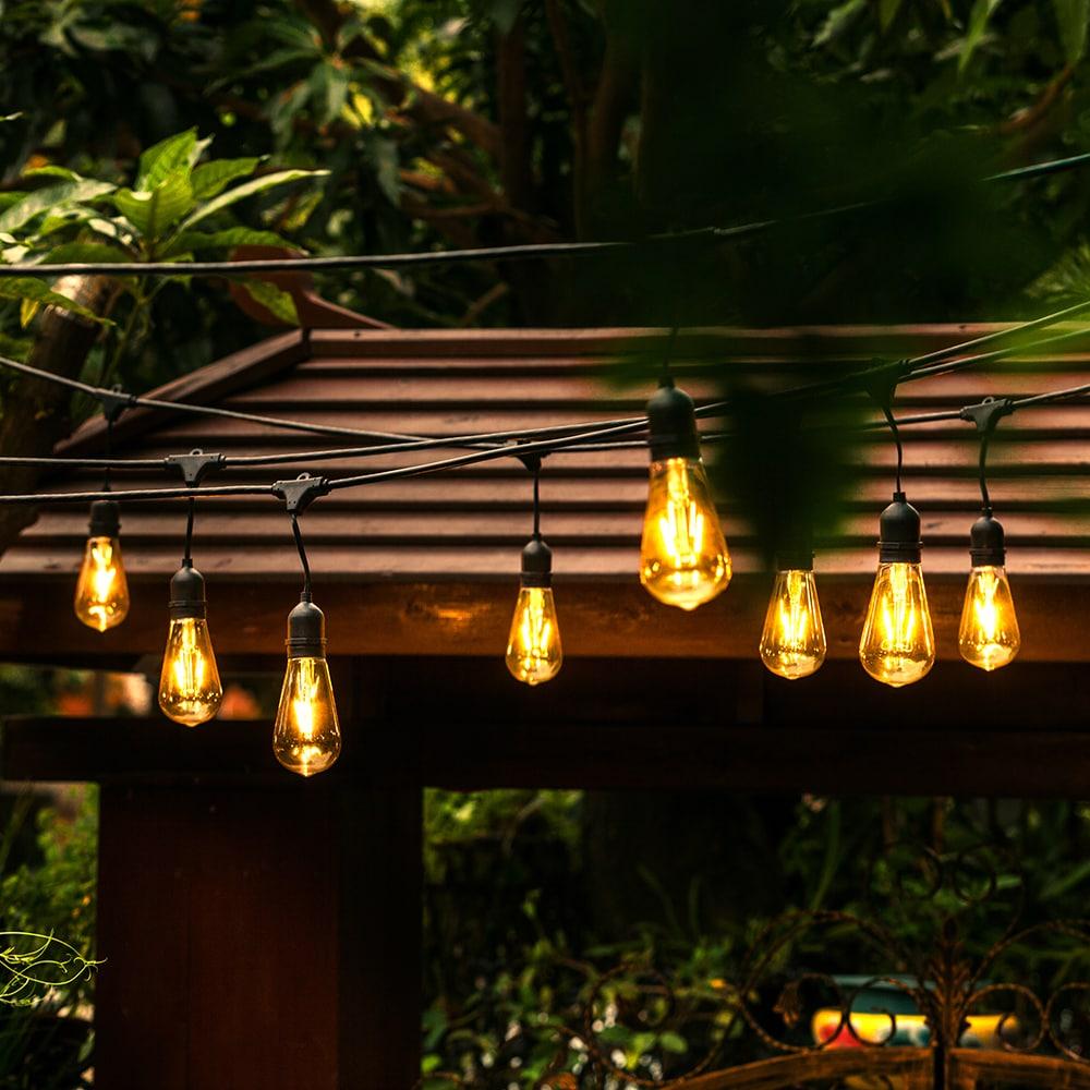 Ove Decors All Season 48 Foot Led Edison Bulb String Light Black