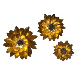 Evelyn Gold Leaf Wall Flowers (Set of 3)