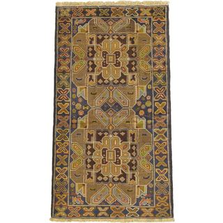 eCarpetGallery Brown Wool Hand-knotted Finest Rizbaft Rug (3'10 x 7'1)