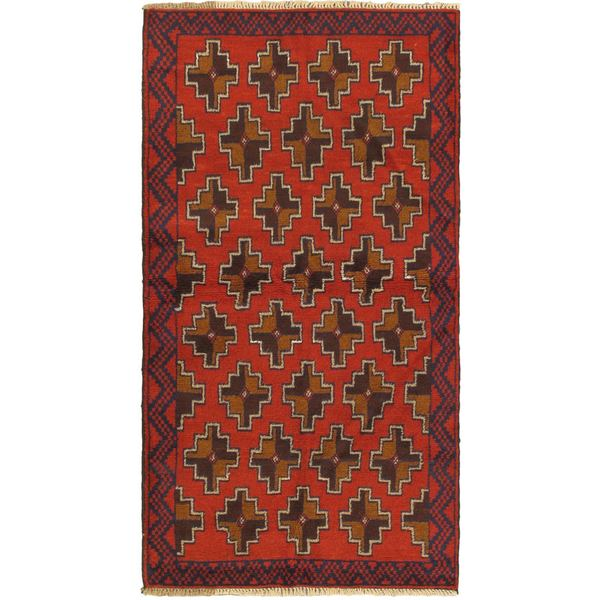 eCarpetGallery Hand-knotted Royal Baluch Red Wool Rug (3'2 x 6'4)