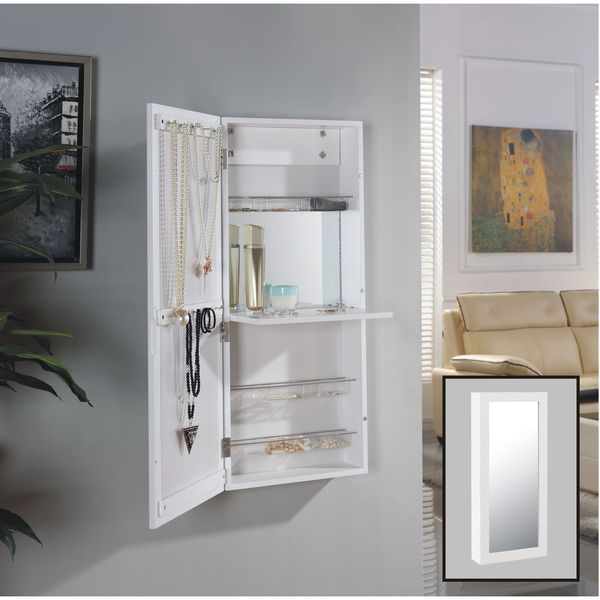 Danya B. White Over The Door Jewelry And Makeup Cabinet Mirror With  Interior Mirror And