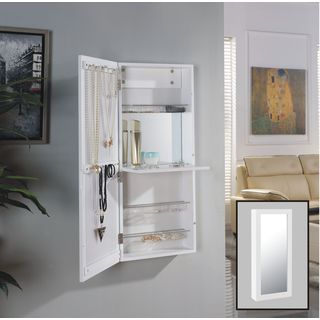 Danya B. White Over the Door Jewelry and Makeup Cabinet Mirror with Interior Mirror and Drop Down Sh