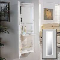 Danya B. White Over the Door Jewelry and Makeup Full Size Cabinet Mirror with Interior Mirror and Dr