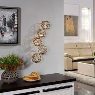 Danya B Sparkling Gold Polyhedron Vertical Candle Wall Sconce|https://ak1.ostkcdn.com/images/products/11802345/P18710975.jpg?impolicy=medium