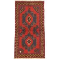 eCarpetGallery Hand-knotted Kazak Red Wool Rug (3'4 x 6'6)