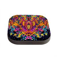 Kess InHouse Nikki Strange 'Paisley Garden' Wam Pink Coasters (Set of 4)