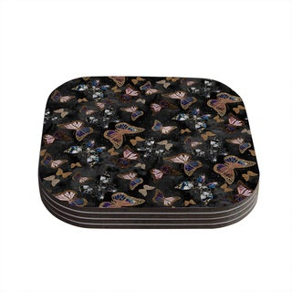 Kess InHouse Nikki Strange 'Galactic Butterfly' Black Brown Coasters (Set of 4)