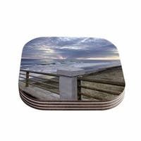 Kess InHouse Nick Nareshni 'Oceanside Pier at Sunset' Coastal Photography Coasters (Set of 4)