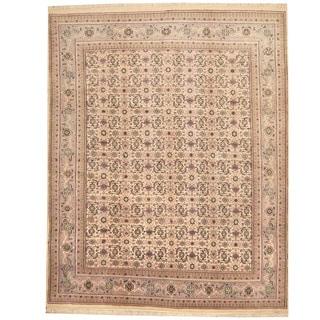 Herat Oriental Indo Hand-knotted Bidjar Ivory/ Blue Wool Rug (8' x 10')