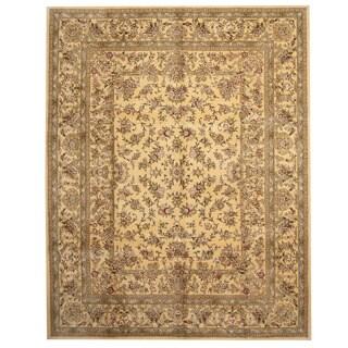 Herat Oriental Indo Hand-tufted Tabriz Gold/ Beige Wool & Silk Rug (7'9 x 9'9)