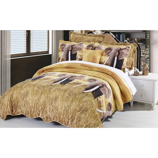 Serenta Elephant Safari Quilt Set