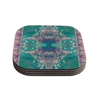 Kess InHouse Nina May 'Ashby Blossom Teal' Coasters (Set of 4)