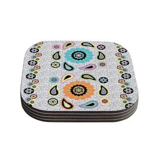 Kess InHouse Nina May 'Moda Paisley' Paisley Flower Coasters (Set of 4)