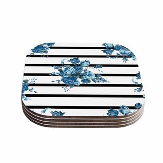 Kess InHouse NL Designs 'Blue Floral Strips' Black White Coasters (Set of 4)