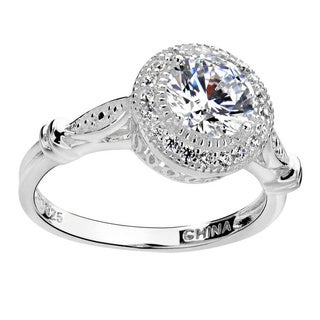 Sterling Silver 7mm Round Cubic Zirconia Wedding Engagement Halo Ring (China)