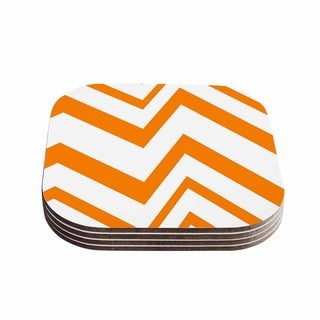 Kess InHouse NL Designs 'ZigZag Orange' Tangerine White Coasters (Set of 4)