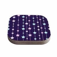 Kess InHouse NL Designs 'Twinkle Twinkle LIttle Star' Purple Pastel Coasters (Set of 4)