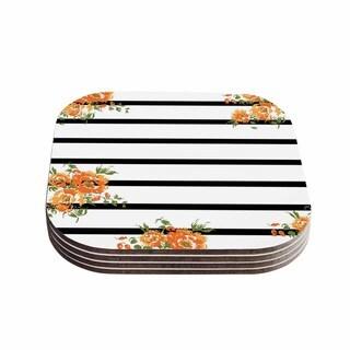 Kess InHouse NL Designs 'Orange Floral Stripes' Black Floral Coasters (Set of 4)