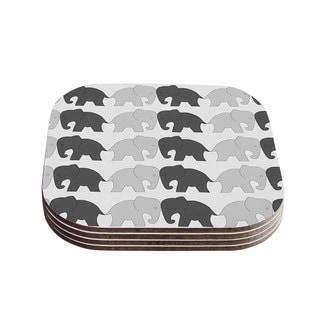 Kess InHouse NL Designs 'Elephants On Parade' Grey Animals Coasters (Set of 4)