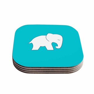 Kess InHouse NL Designs 'Cute Blue White Elephant' Animals Blue Coasters (Set of 4)