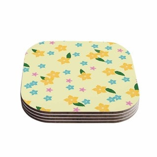 Kess InHouse NL Designs 'Tropical Flowers' Yellow Pattern Coasters (Set of 4)