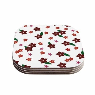 Kess InHouse NL Designs 'Holiday Floral' White Pattern Coasters (Set of 4)