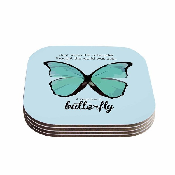 Kess InHouse NL Designs 'Blue Butterfly' Blue Quote Coasters (Set of 4)