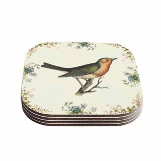 Kess InHouse NL Designs 'Vintage Bird 3' Tan Coasters (Set of 4)