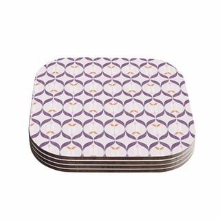 Kess InHouse Neelam Kaur 'Textured Modern Reminisence' White Pink Coasters (Set of 4)