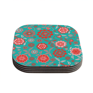 Kess InHouse Nicole Ketchum 'Cherry Floral Sea' Coasters (Set of 4)