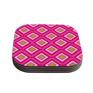 Kess InHouse Nicole Ketchum 'Moroccan Hot Pink Tile' Coasters (Set of 4)