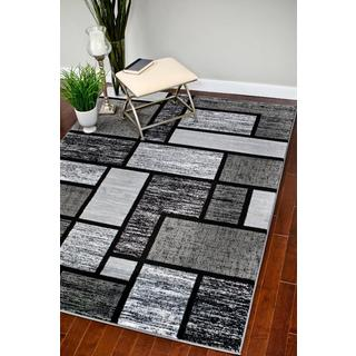 Persian Rugs Modern Trendz Grey Black Area Rug (2' x 3'4)