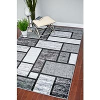 "Persian Rugs Modern Trendz Grey Black Rug - 7'10"" x 10'6"""
