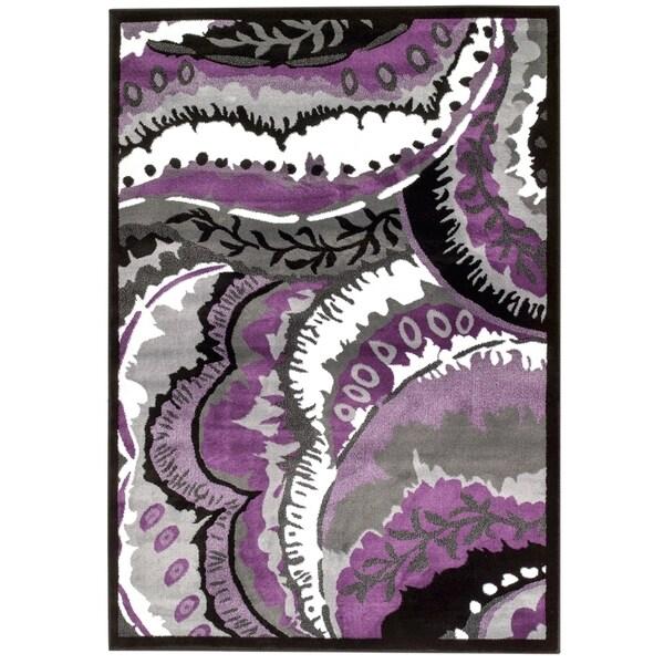 Persian Rugs Purple White Black Area Rug - 7'10 x 10'6