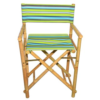 Handmade Set of 2 Bamboo Director's Chairs with striped Canvas (Viet Nam)