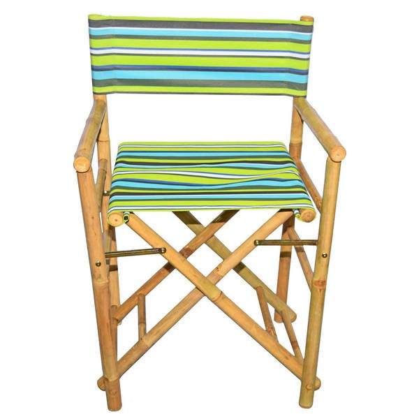 Handmade Set Of 2 Bamboo Director X27 S Chairs With Striped Canvas Vietnam