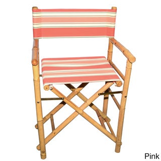 Set of 2 Bamboo Director's Chairs with striped Canvas