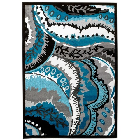 Persian Rugs Turquoise White Black Area Rug - 2' x 3'4