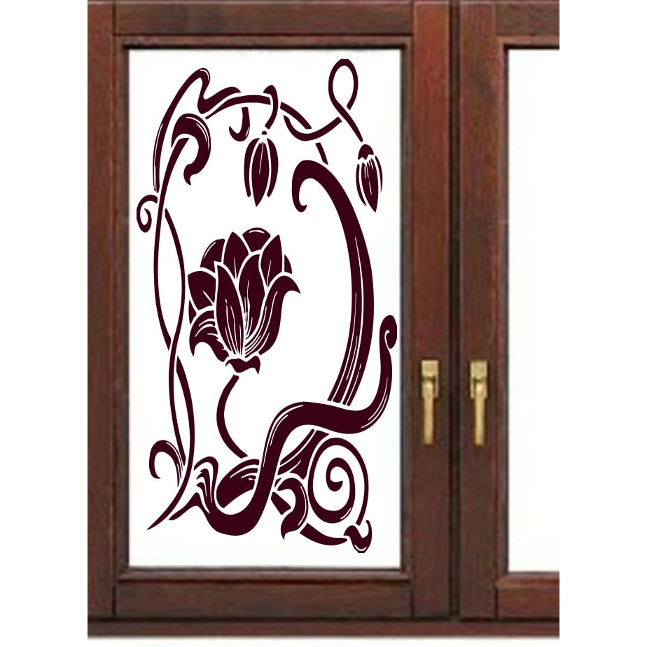 Beautiful flower on the window Wall Art Sticker Decal Red...